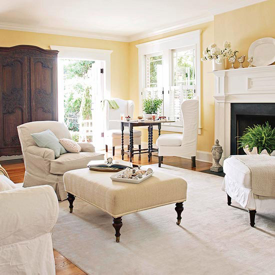 Yellow living room with slipcovers