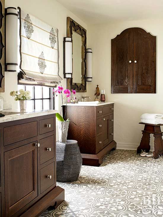 patterned tile and rich wood accents