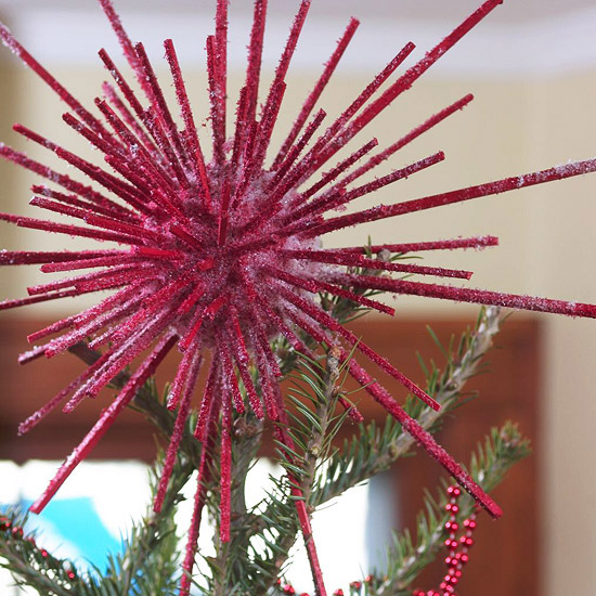 Red spiky tree topper