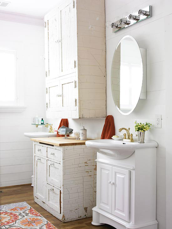 Bathroom cabinets, sink with mirror