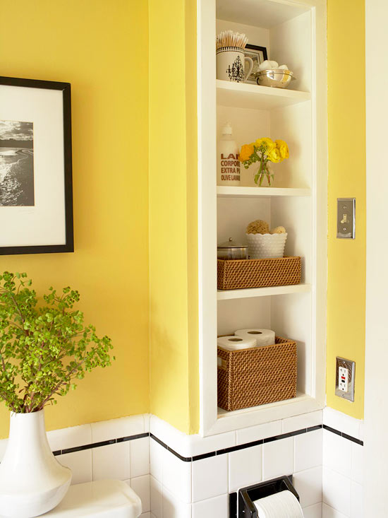 Yellow bathroom with recessed shelf,