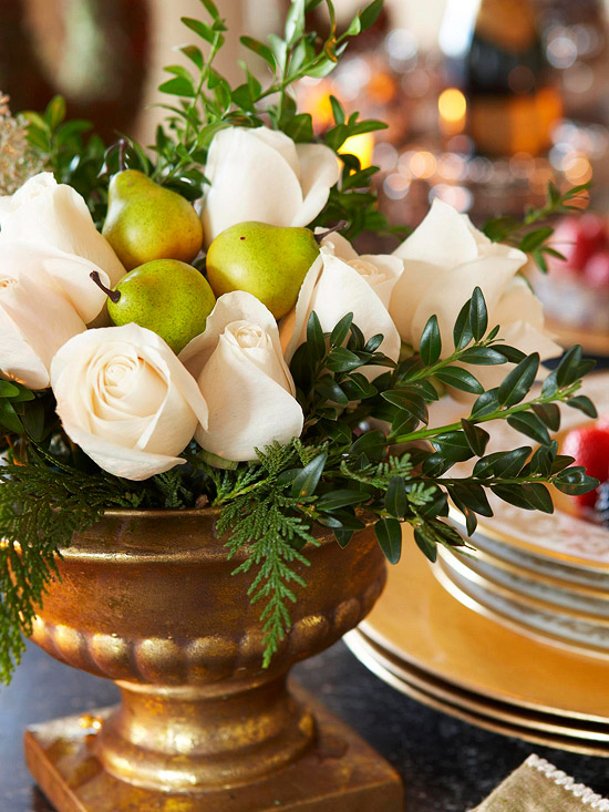 Winter White Roses & Fresh Fruit