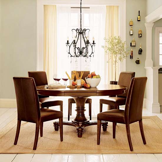 Dining table w/ bread, wine