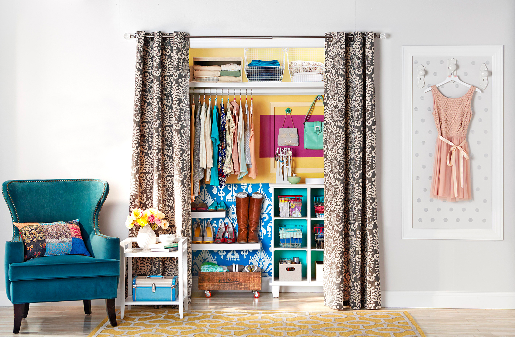 closet with blue chair and yellow walls