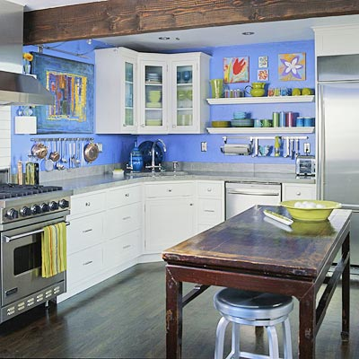 Vibrant Blue Kitchen
