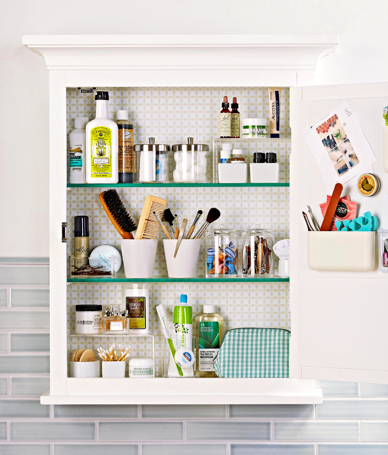 open wall-mount medicine cabinet organization