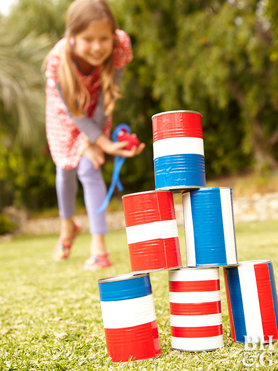 Red white blue tin can game