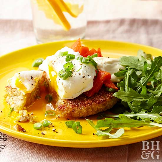Salmon and Quinoa Cake Benedict