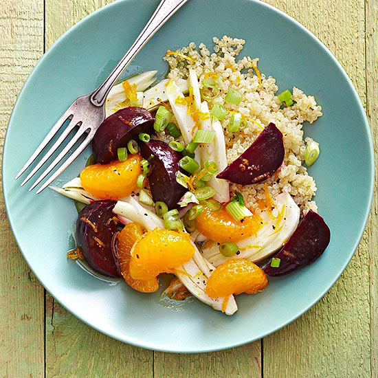 Quinoa Salad with Slow Cooker Beets, Oranges and Fennel