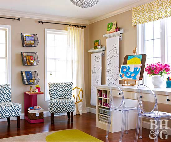 family craft room with bright accents