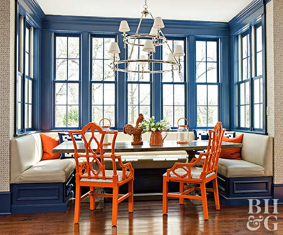 blue painted woodwork, breakfast nook