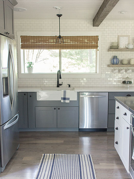 gray/blue and white kitchen