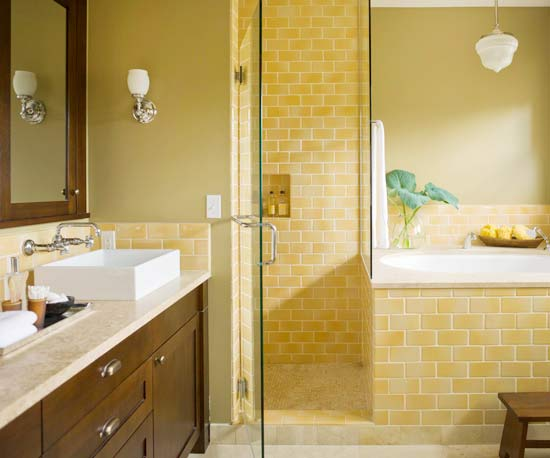 Yellow Arts-and-Crafts Style Bath