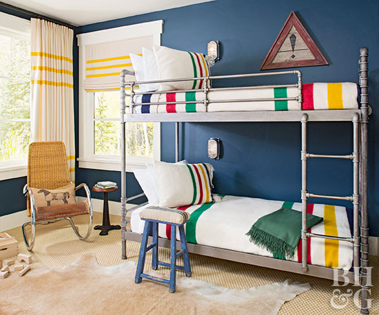 boy bedroom with steel frame bunk beds
