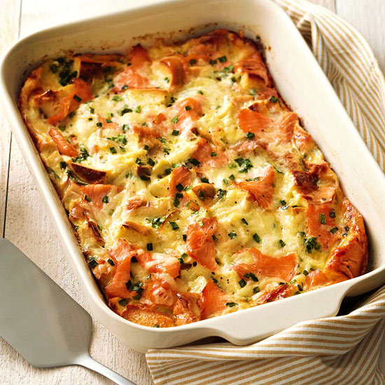 Bagel, Lox, and Egg Strata