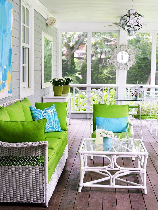 Lime Green Seat Cushions And Turquoise Accessories Infuse This Screened Porch With Youthful Energy The Mismatched Collection Of Furniture Looks Cohesive