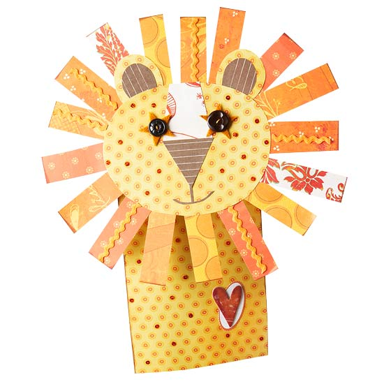 Yellow paper lion puppet