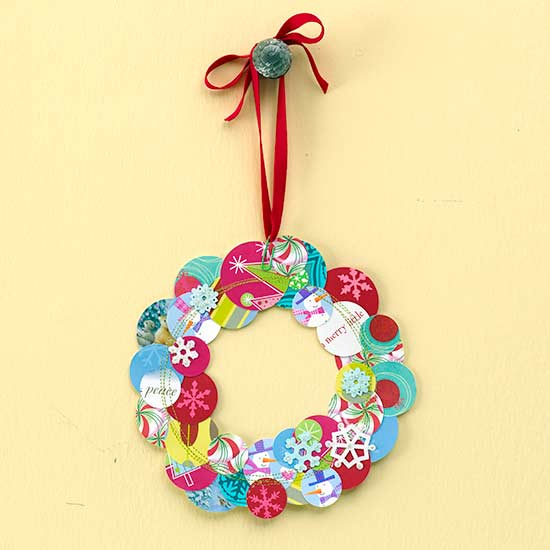 Round wreath made of pieces of greeting cards