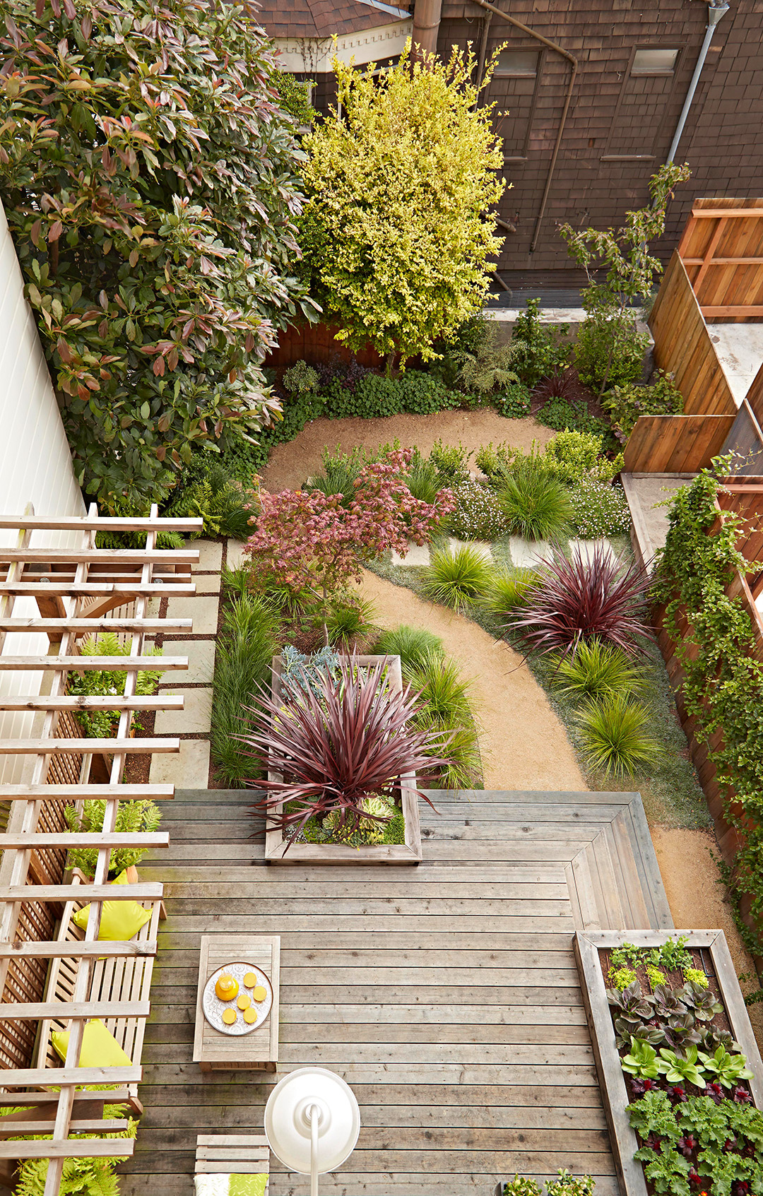 overhead view of garden with exterior pathway and deck