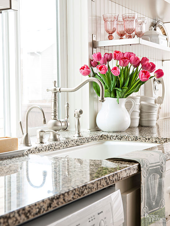 kitchen sink and tulips