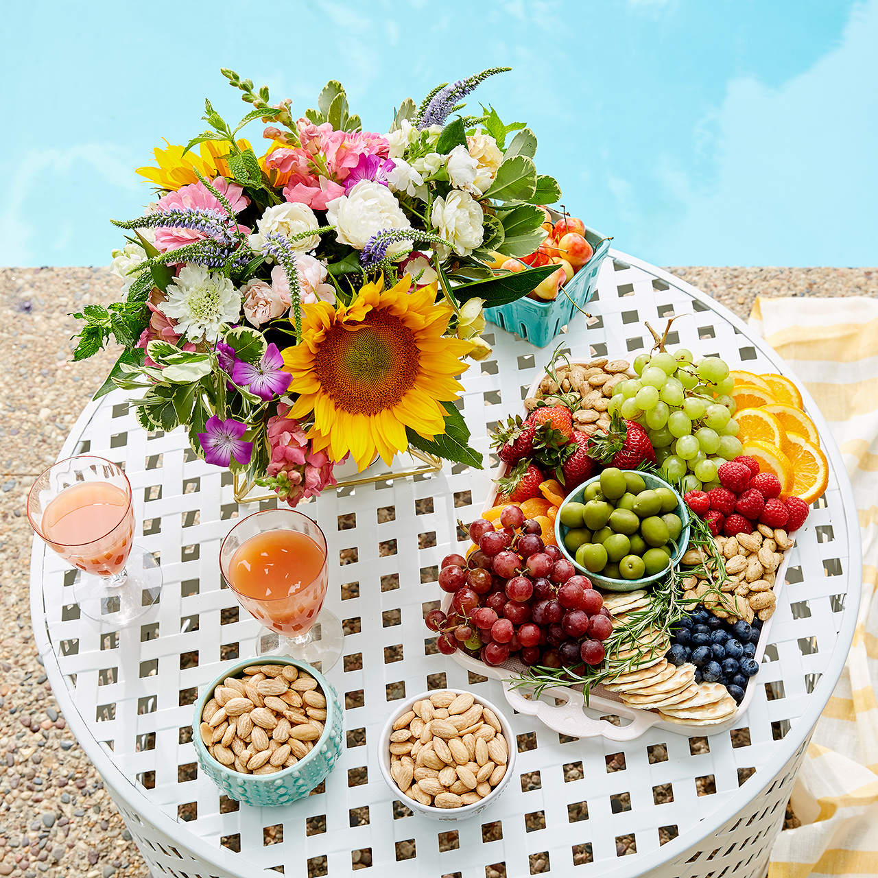 aerial view poolside white snack table