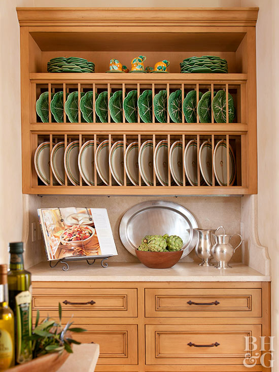 built-in cabinet drawers plate racks