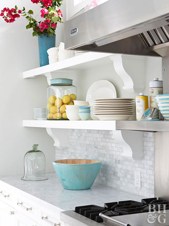 close-up white kitchen shelves