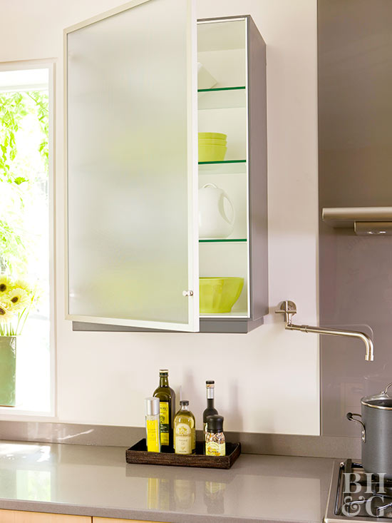 kitchen cabinet glass shelves opaque glass door