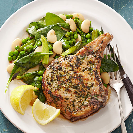 Gluten Free Skillet Pork Chops with Butter Beans, Peas, and Green Onions