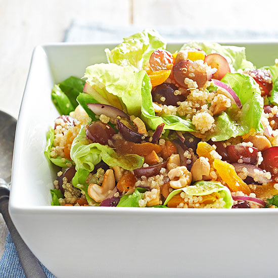 Gluten Free Honey-Soaked Quinoa Salad with Grapes and Cashews