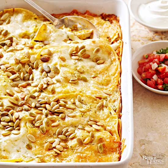 Pumpkin Tortilla Casserole with Chicken