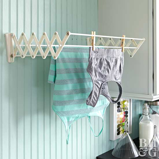 clothes hanging on air-drying rack