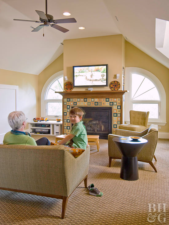 family room colored tile fireplace
