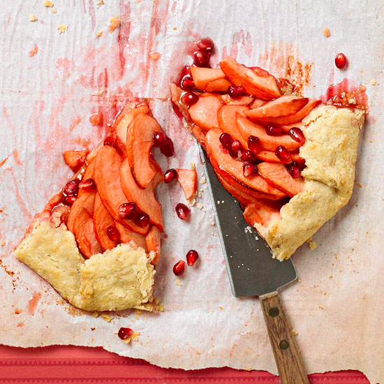Cheddar Crusted Apple Pomegranate Galette