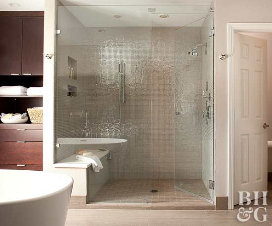 neutral bath with large shower and separate toilet