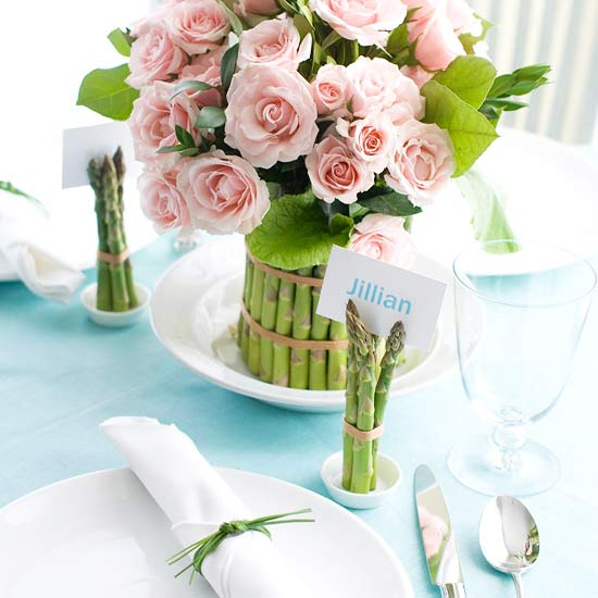 Asparagus and flower centerpiece