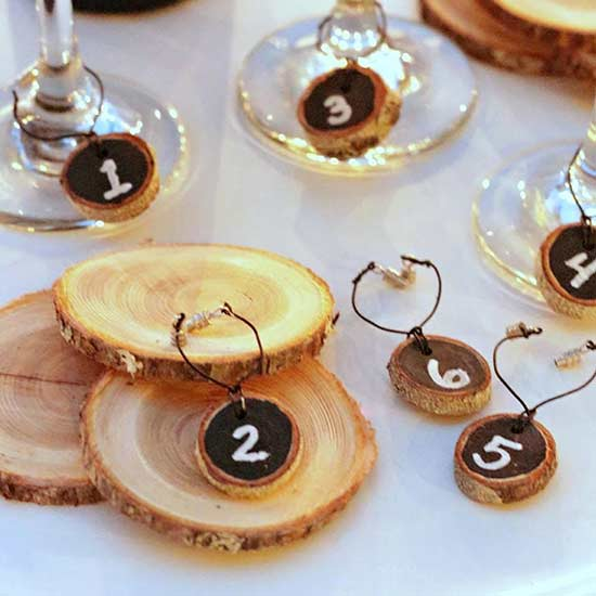Chalkboard Wood Slice Wine Charms
