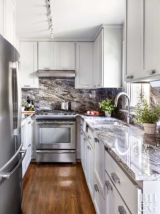 small neutral kitchen with overhead cabinets