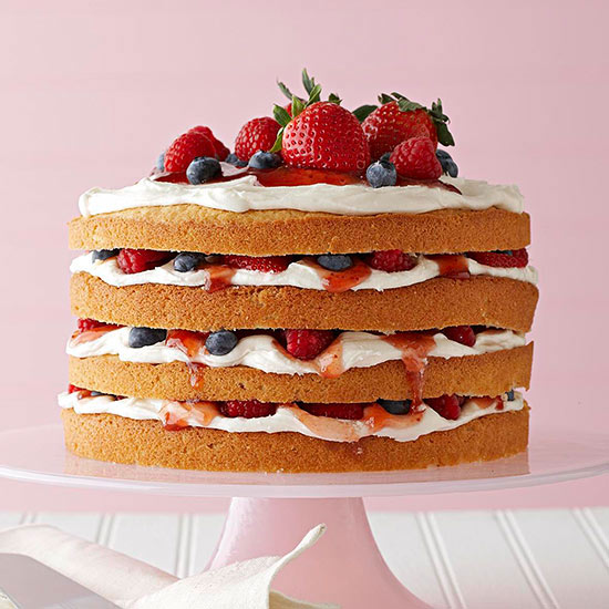Vanilla Cake with Buttercream, Berries & Jam