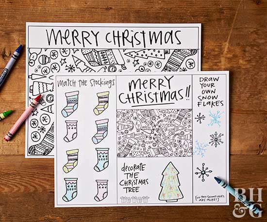 holiday placemats for coloring