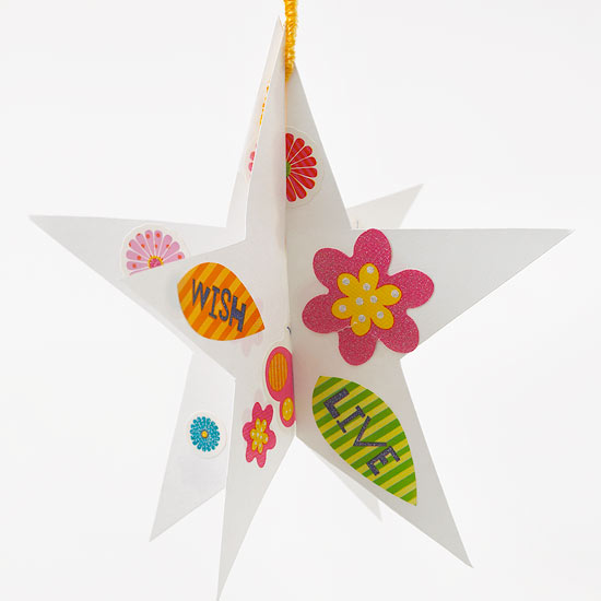 White card stock star with stickers