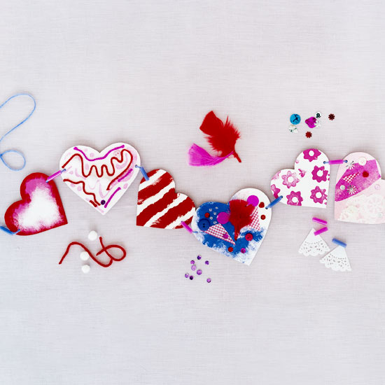 Decorated paper heart garland