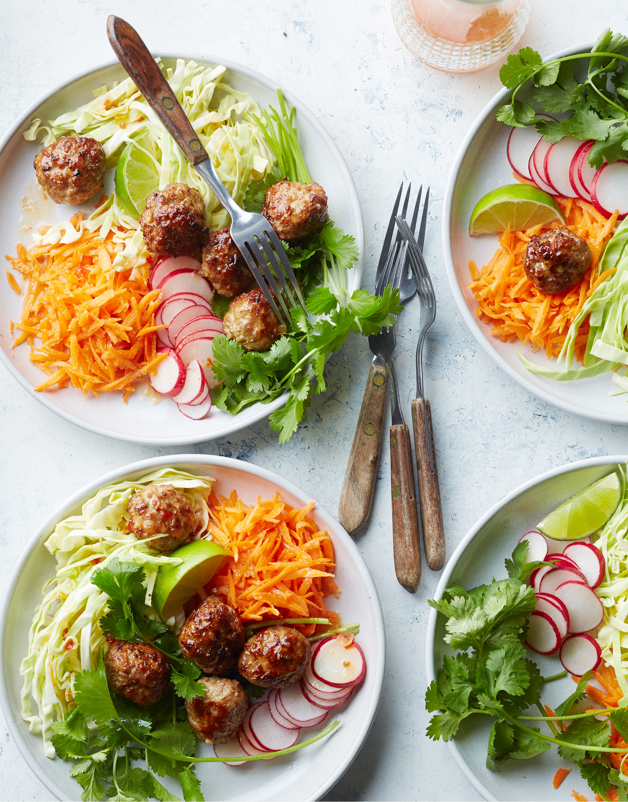 four plates of Vietnamese Pork Meatballs