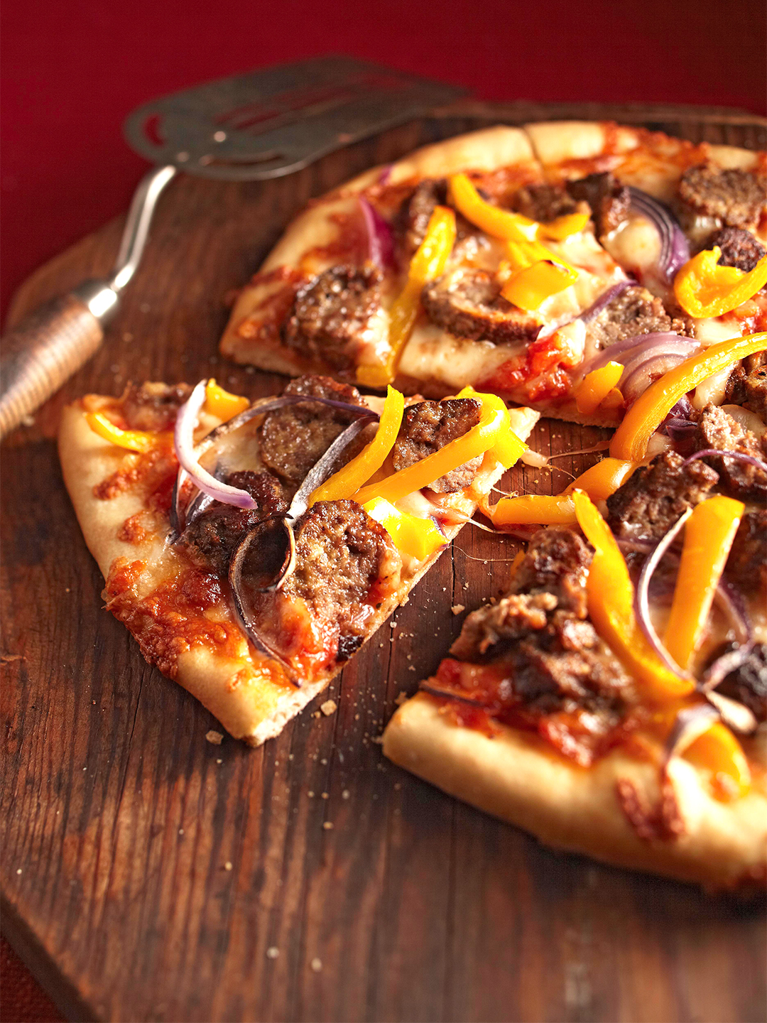 Mini Meatball Pizza with yellow peppers