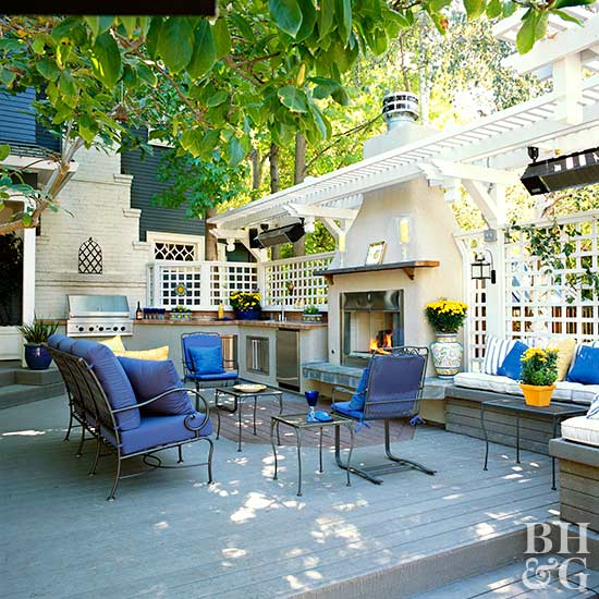 outdoor living with blue seating