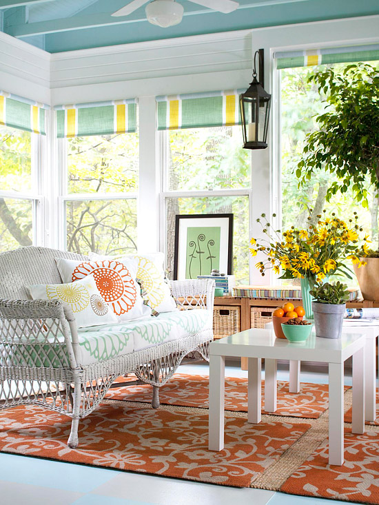 Wicker couch and side tables