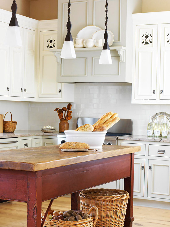 White cabinets with cutouts