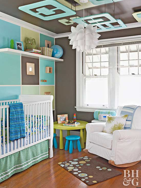 blue and brown kids room