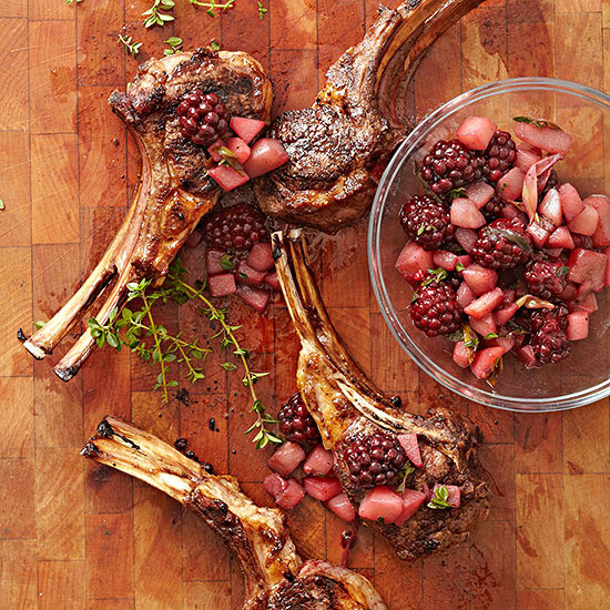 Lamb Chops with Blackberry-Pear Chutney