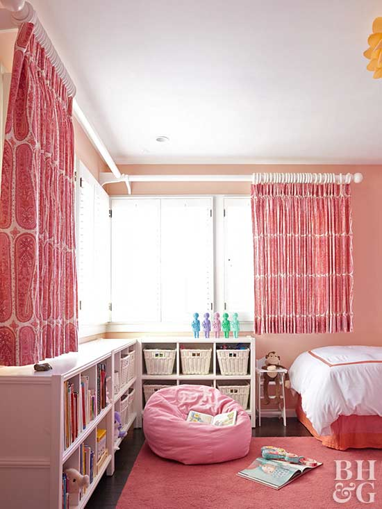 coral room with storage cubbies
